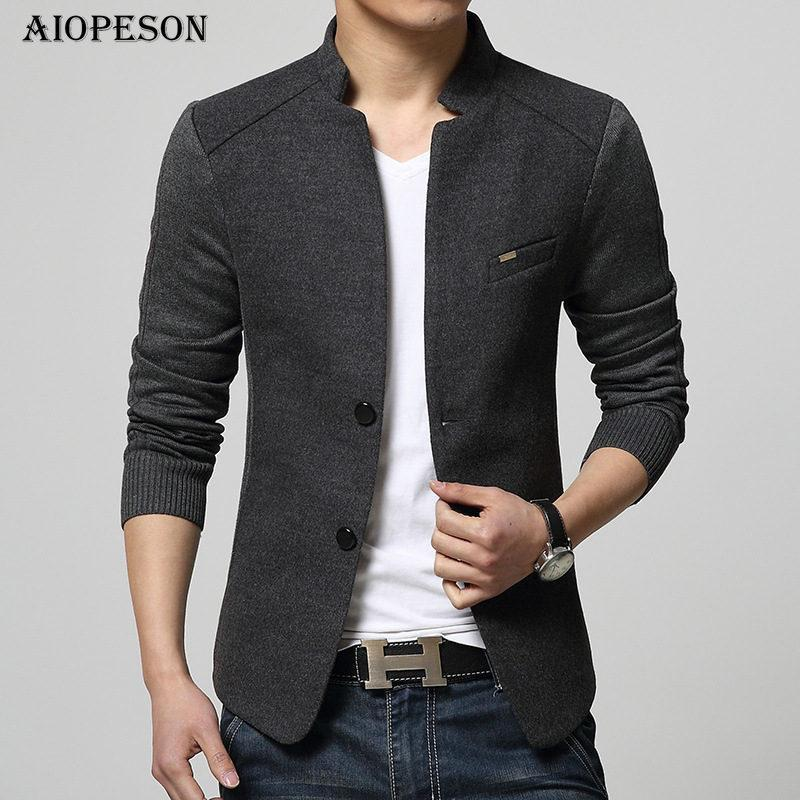 Aiopeson New Mens Blazer Patchwork Abiti per uomo Top Quality Red Blazer Slim Fit Cappotto Outwear di lana Costume Homme Blazer Uomo Y190420