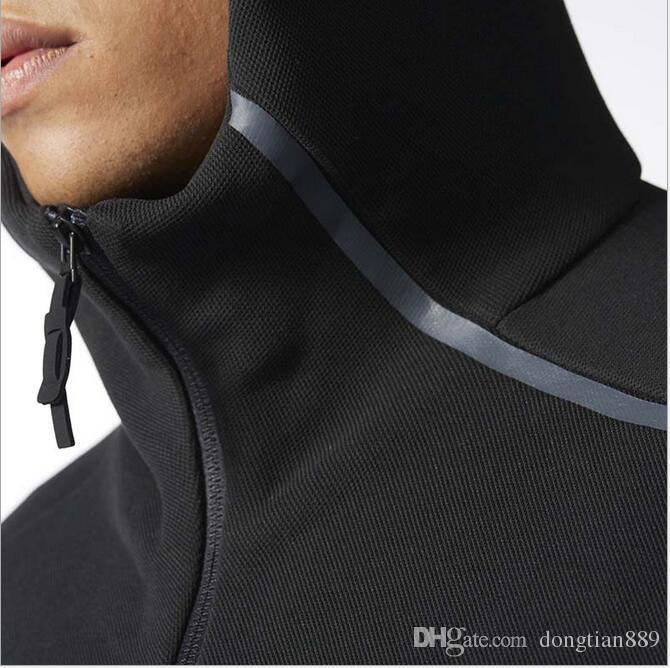 nuovo marchio Z.N.E felpa sportiva da uomo Tute Nero Bianco Tute giacca con cappuccio Uomo / donna Giacca a vento Zipper sportwear Moda ZNE felpa con cappuccio