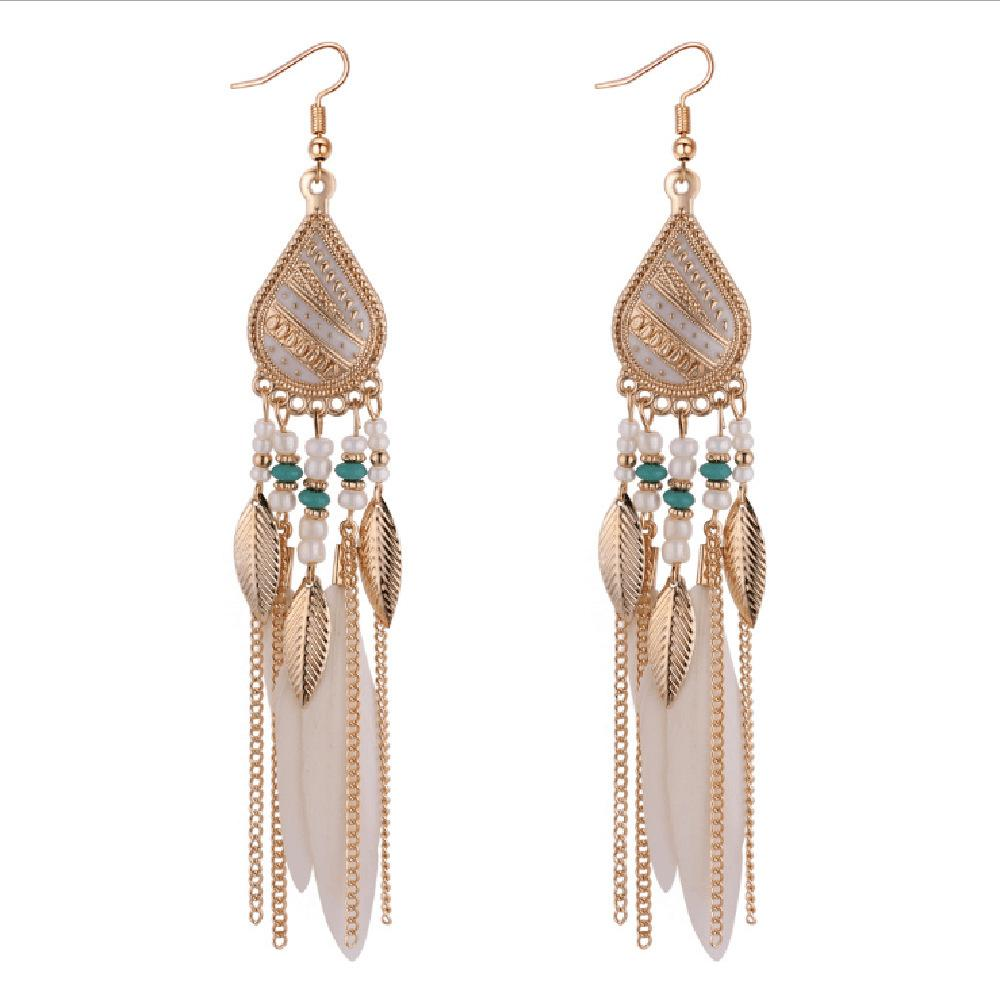 Pendiente de plumas de Bohemia para las mujeres de joyería de moda granos de la borla cuelga los pendientes largos Dream Catcher Pendientes de gota
