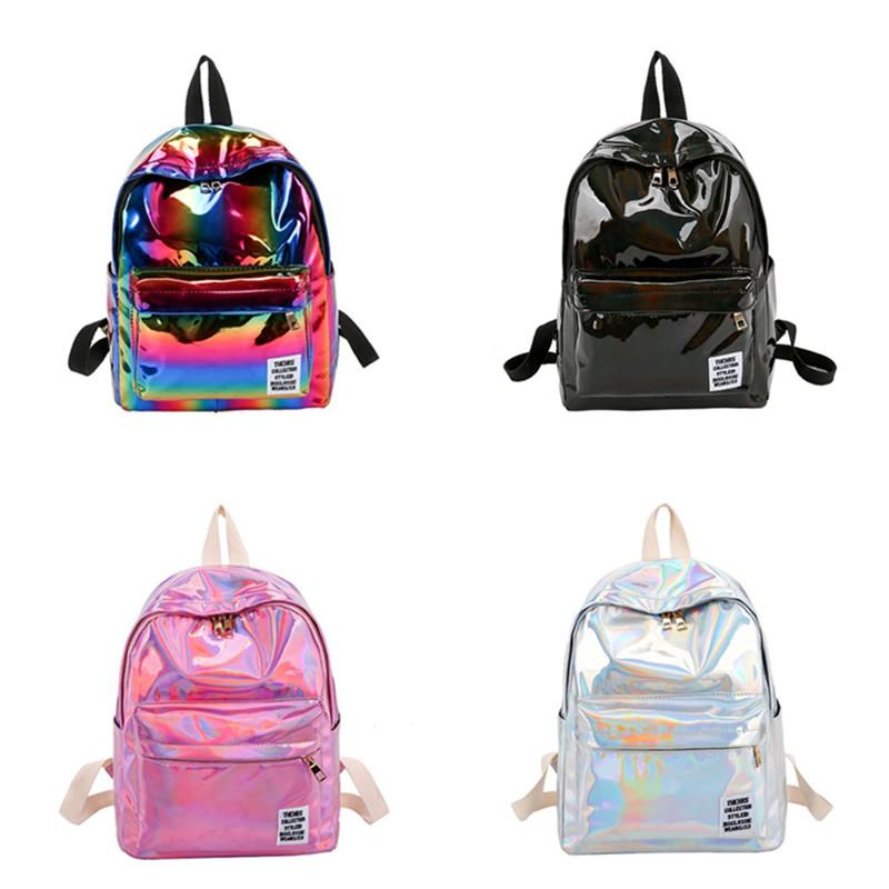 Лазерные Женщины Рюкзак Красочной Радуги школа мешок плеча PU сумка Вместимость Студенты рюкзаки Открытого Путешествие хранение сумка рюкзак Новая