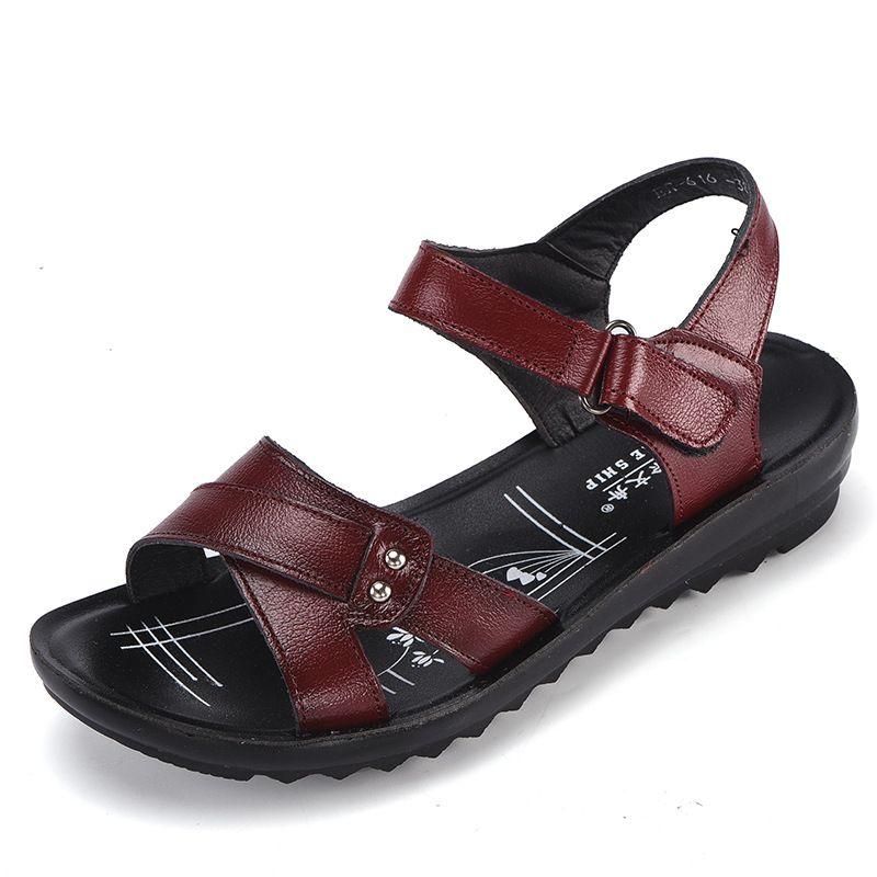 mirada detallada cómo hacer pedidos oficial de ventas calientes Compre 2019 Zapatos De Mujer Confort Para Mujer Sandalias Planas Moda Para  Mujer Sandalias Cuero Genuino Tallas Grandes Plataformas Cuña A $30.37 Del  ...