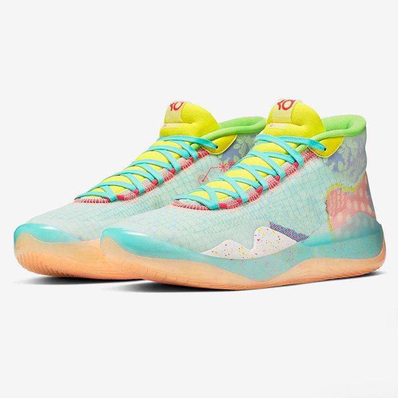 Erkek 12s Spor Sneakers Ayakkabı için Sıcak Kevin Durant KD XII 12 Teyzem Beyaz Mürekkep Splashing Mürekkep All Stars Çocuk Basket Ayakkabısı