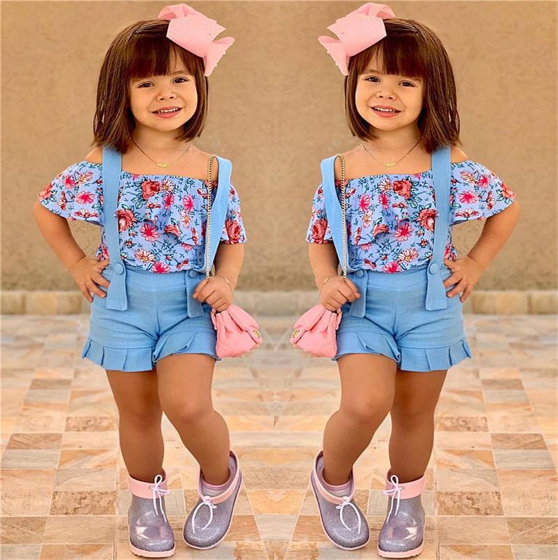 Summer Baby Girls Outfits Floral Tops+Straps Shorts 2 Pieces Clothing Set Kids off Shoulder Flowers T-shirts Overalls Beach suits E22603