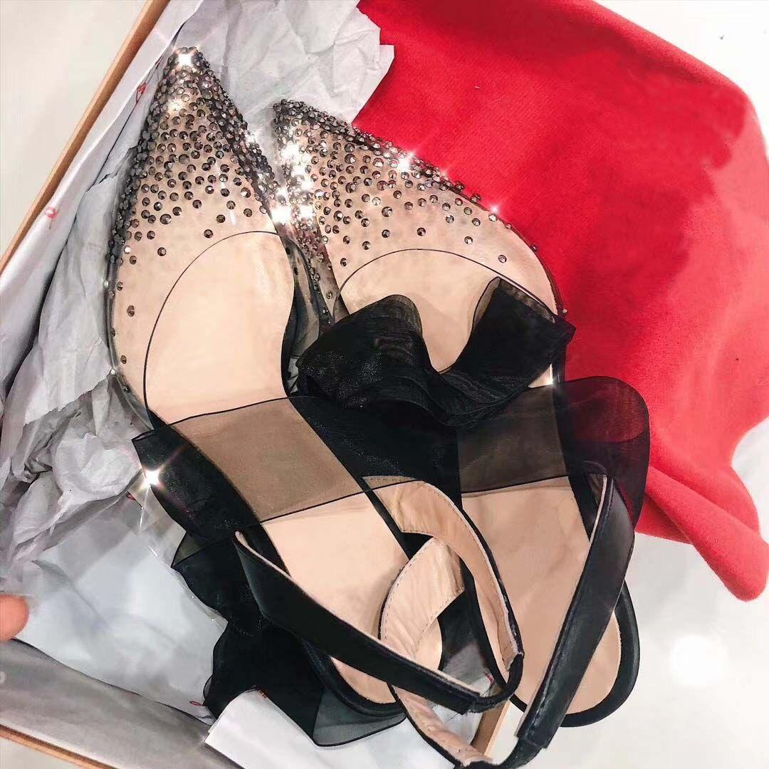 Black Lace Up Slingback Frauen Pumpt Neueste Rotes Boden High Heels PVC Kristall Bling Spitz Zehe Hochzeitsfeierschuhe Full Original Verpackung