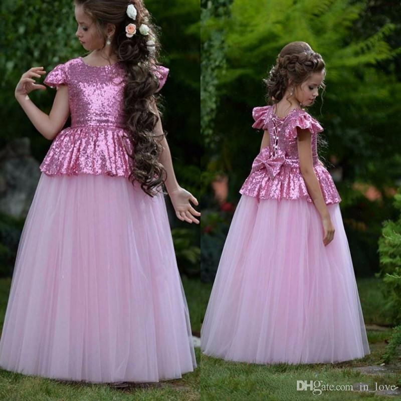 Sparkly Paillettes fushcia rosa Little Miss ragazze Pageant abiti con fiocco sul retro del manicotto della protezione Una festa di compleanno linea abito da sposa Flower Girl