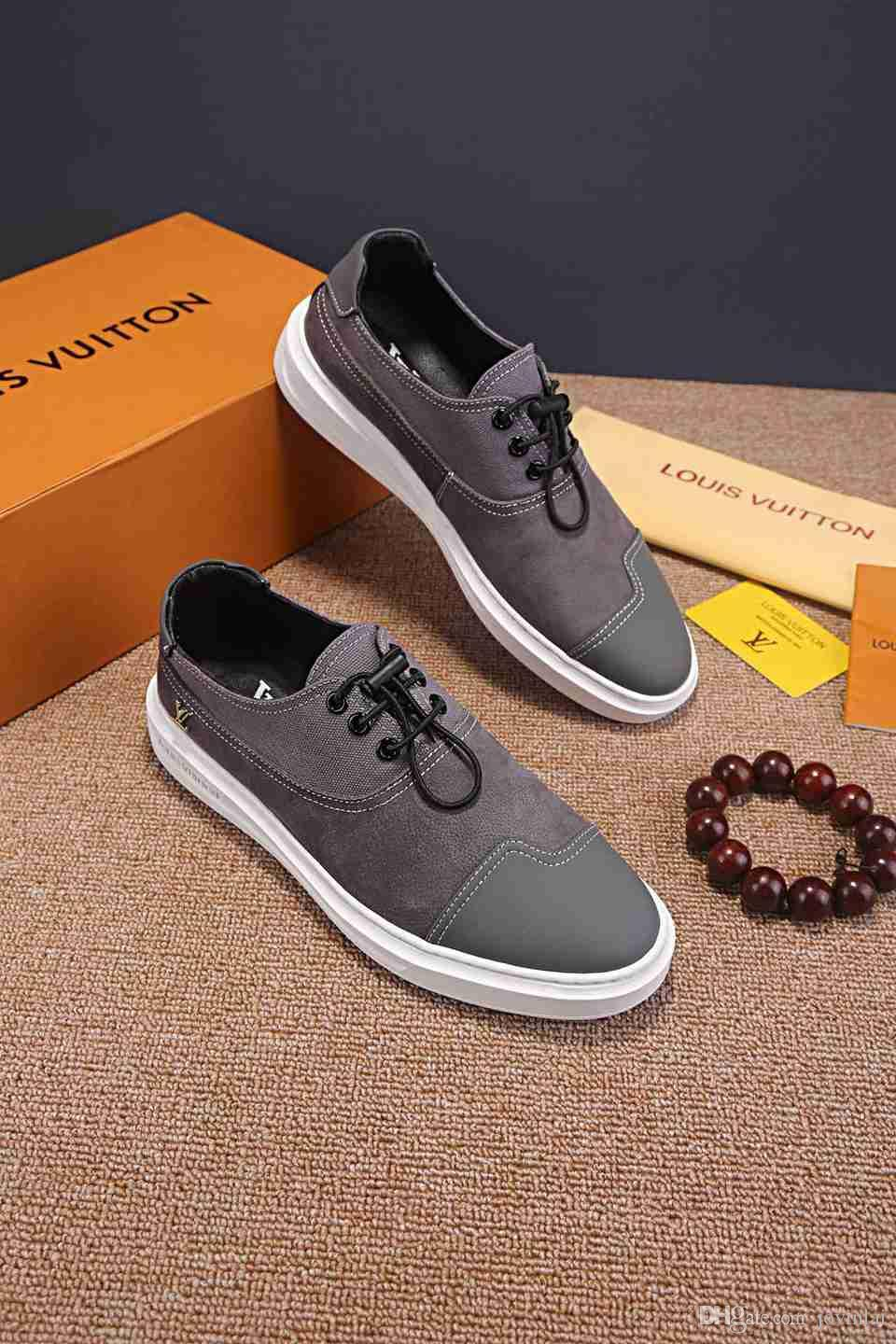New French high-end brand men's fashion casual shoes Italy original imported leather face sheepskin lining rubber outsole comfortable walkin