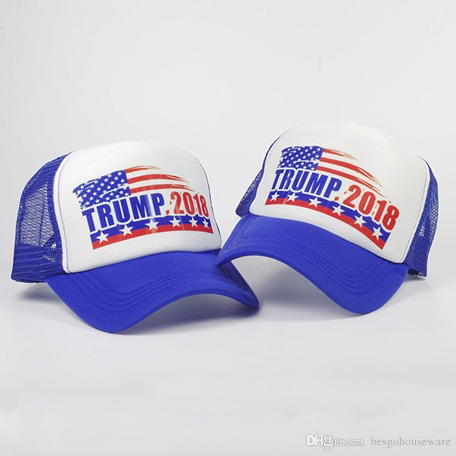 Regolabile traspirante Trump bandiera americana Cappello Trump 2018 Baseball Cotton Mesh protezione esterna Stampato Stella Trump Unisex Cappellini BH1036 TQQ