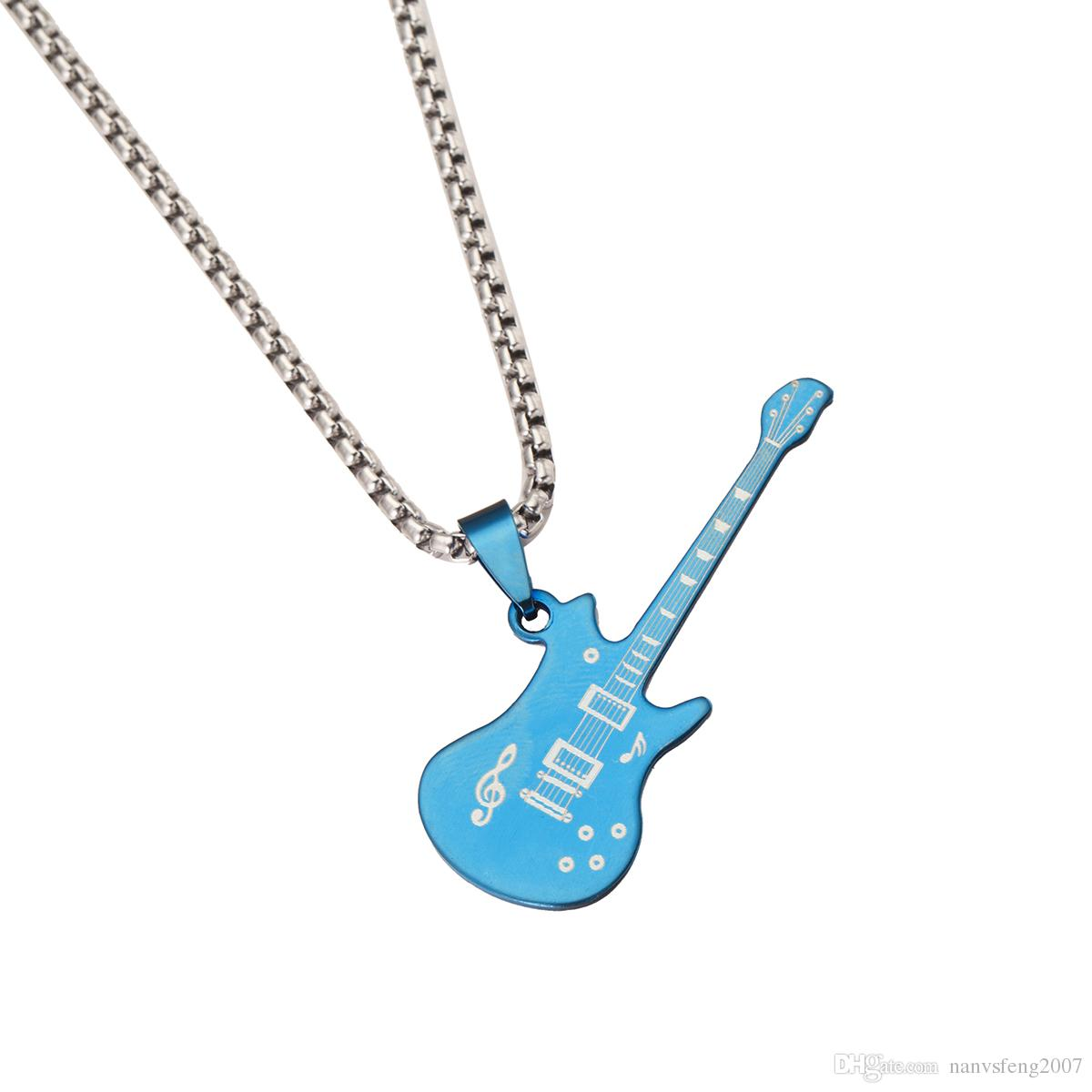 Cute Guitar Pendant Necklaces Stainless Steel Musical Instruments Jewelry For Girls Boys Women Men Birthday Gift