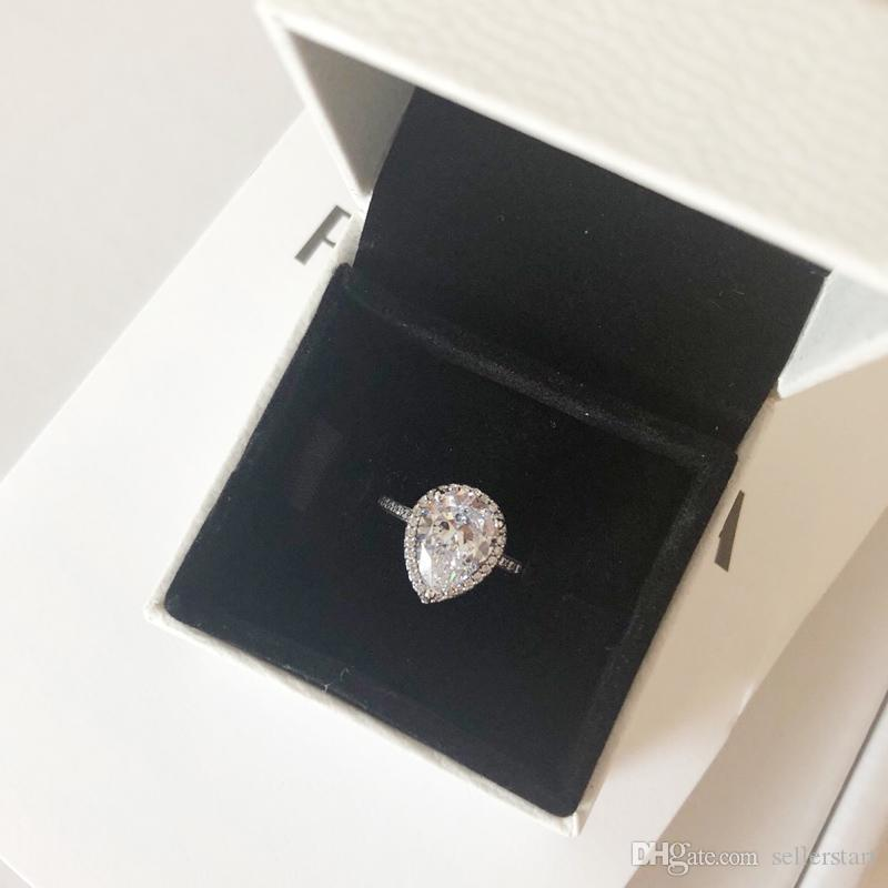 NEW 925 Sterling Silver CZ Diamond Tear drop Wedding RING Set Original Box for Pandora Water Drop Rings for Women Girls Gift Jewelry