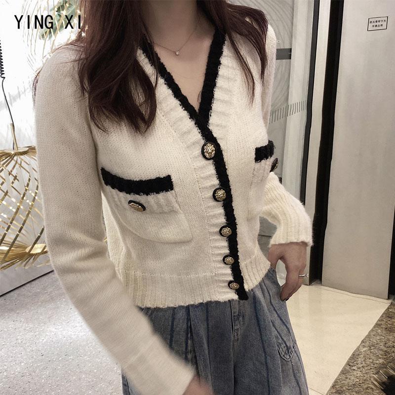 Ying XI 2020 Yeni Bahar Beyaz Casual Tek Breasted Hırkalar V yaka Uzun Kollu Patchwork Örme Kadınlar Triko Cepler