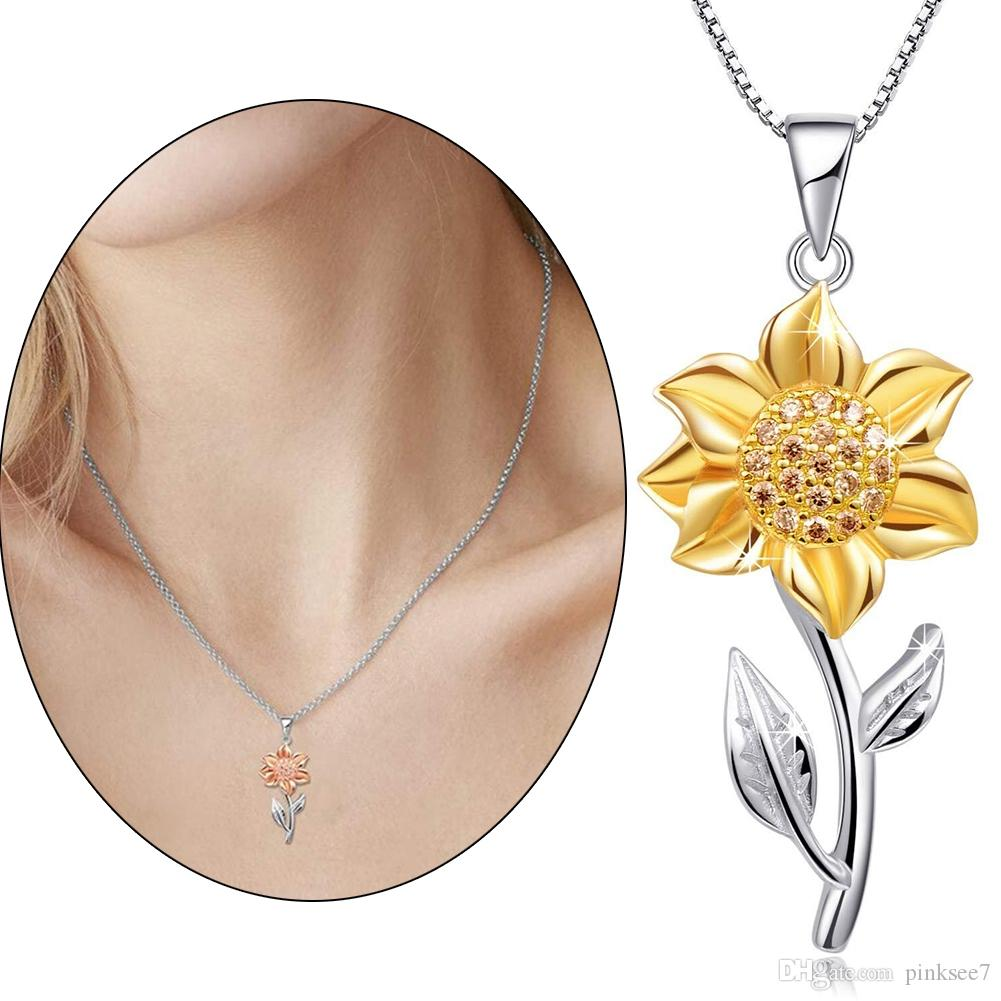 2020 Creative Sunflower Pendant Necklaces Vintage Fashion Daily Jewelry Temperament Cute Sweater Necklaces for Women Gift Free shipping