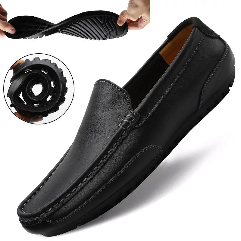 정품 가죽 캐주얼 신발 남성 높은 품질 블랙 운전 신발 플러스 사이즈 37-47에 2020 남성 로퍼 모카신 통기성 슬립