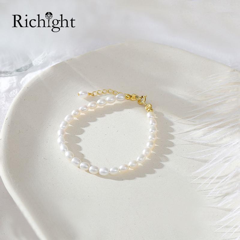 Coreano White Pearl Bracciali donne Argento 925 perle d'acqua dolce Braccialetti in rilievo semplice di modo oro naturale braccialetto