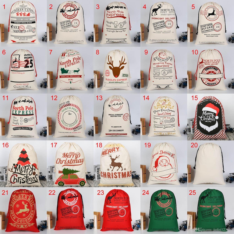 25 Arten Weihnachtstasche Taschen Santa groß für Kordelzug Leinwand 50 * 70 cm Santa Sack mit Tasche Geschenk Rentiere Schwere Claus Sack Taschen Bio Miub
