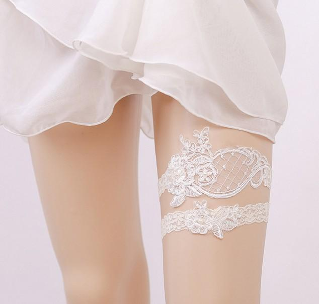 Free shipping hot sell new arrive sexy Lace Garters bowknot flowers Leg ring Wedding Bridal Garters