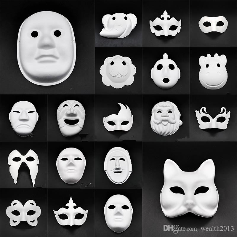 DA TE Bianco Maschera Partito Blank Blank per stampa a mano Giardino Giardino Creativo Cartoon Animali Design come Fox ecc. FP004
