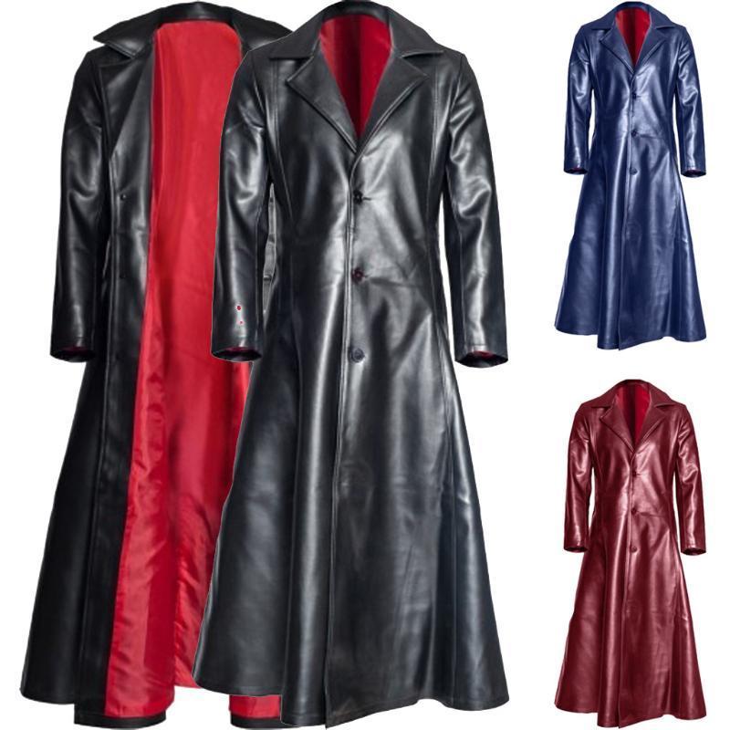 Зимнее пальто мужчины длинная куртка ретро готический длинный мотоцикл кожаное пальто искусственная кожаная куртка S-5xl зима теплая плюс размер G3