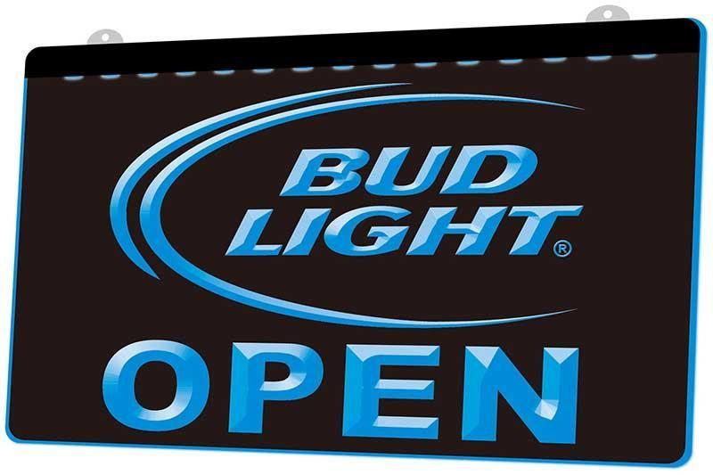 Ls0712 0 Bud Light Beer Bar abierto Rgb múltiple Color Mando a Distancia muestra 3d grabado Led luz de neón barra de la tienda del club del Pub