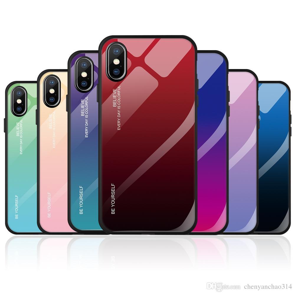 Telefone de vidro temperado case para iphone xs max xr x 8 7 6 6 s plus casos cor gradiente suave tpu tampa traseira para a apple