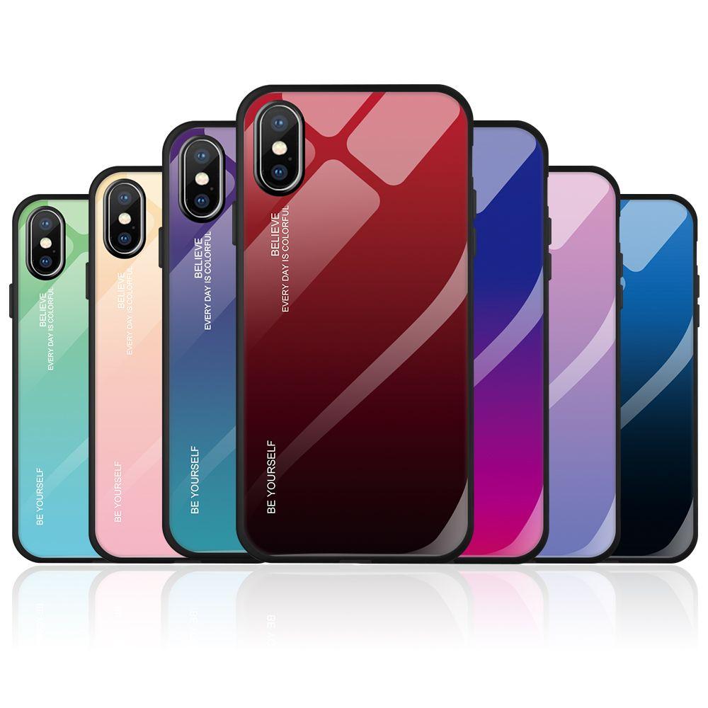Cas de téléphone en verre trempé pour iphone xs max xr x 8 7 6