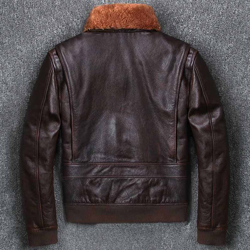 Veste Geniune Hommes Vintage 200% vache bombardier en cuir pur Vestes d'hiver Manteau chaud vers le bas jaquetas de couro MF268