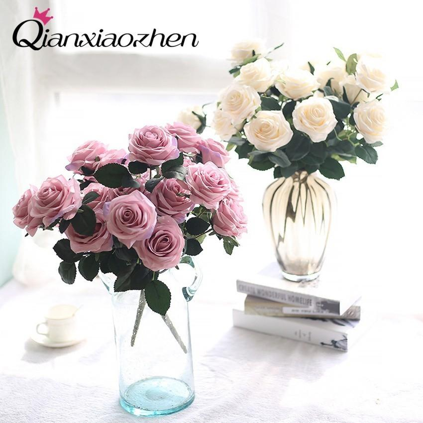 Qianxiaozhen 1 Bunch Of Rose Artificial Flowers For Wedding Fake Flowers Bouquet Wedding Home Decoration