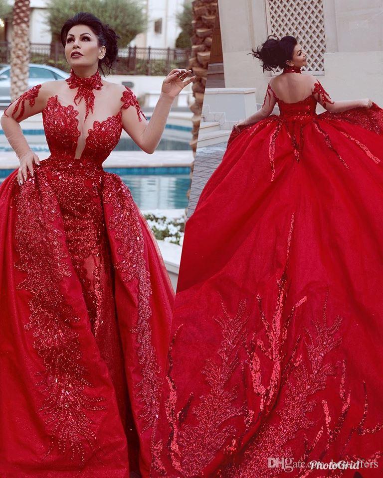 Arapça Kırmızı Overskirts Ile Yüksek Yaka Gelinlik Modelleri Çıkarılabilir Tren 2019 Dedi Mhamad Uzun Kollu Sequins Backless Mermaid Abiye giyim