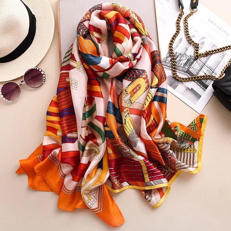 de seda da marca atacado- cachecol mulheres de marcas de luxo verão xales senhora envolve suave pashimina feminino Echarpe praia Designer roubou bandana