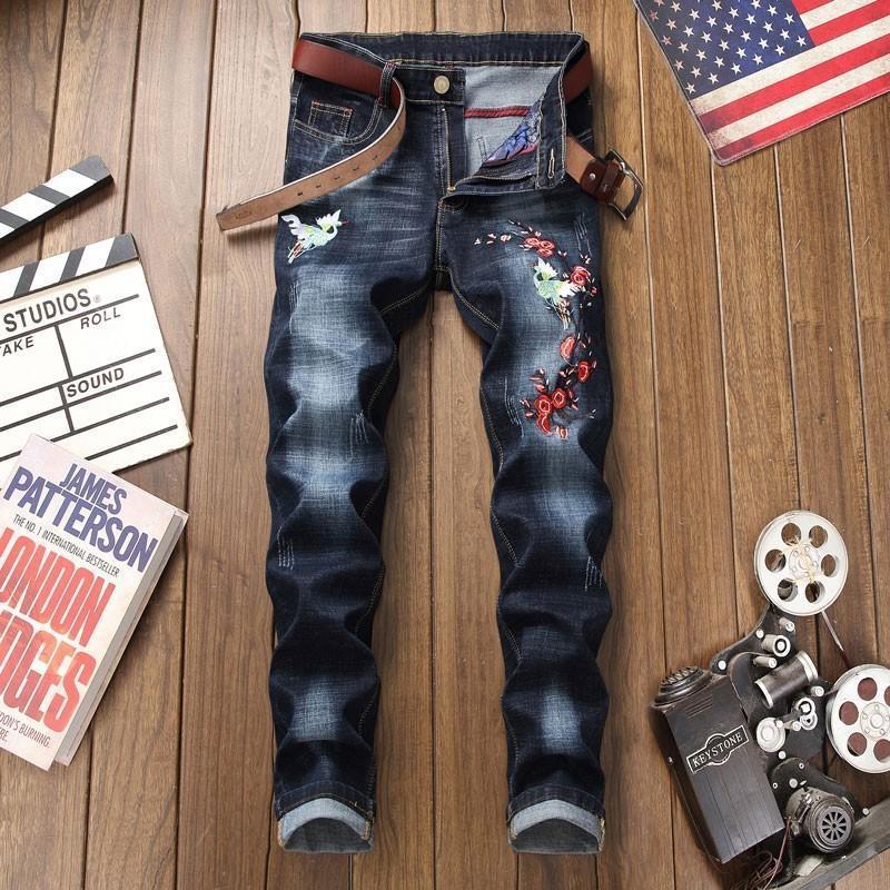 طول العلامة التجارية الجديدة النمط الصيني تطريز زهري الكامل الرجال سروال جينز مستقيم مدرج الأزياء غسلها مطاطا بنطلون جينز