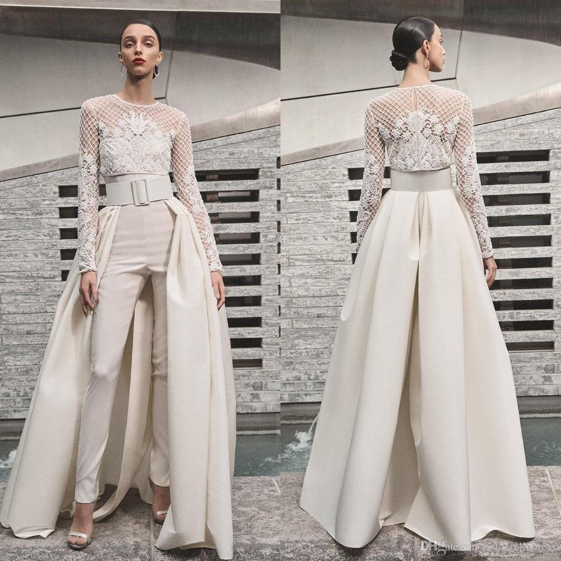 2019 Elegant Beach Wedding Dresses Jumpsuits With Detachable Skirt Satin Sweep Train Sweetheart Country Bridal Gowns With Jacket Long Sleeve