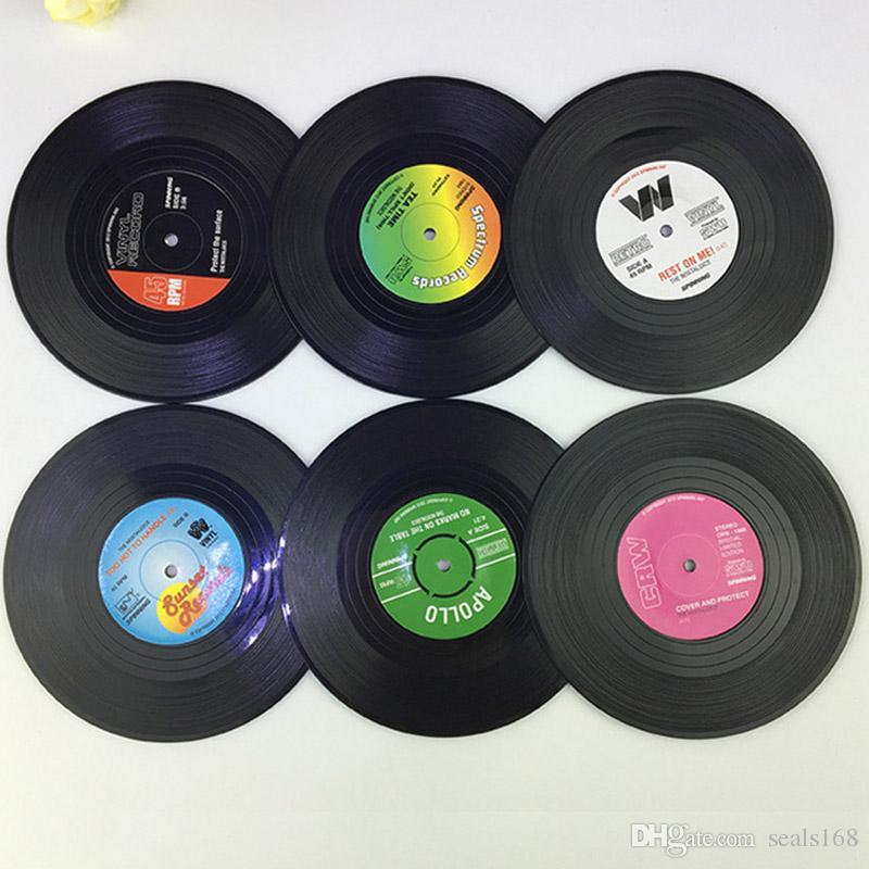 Dooppa confezione da 4/retro CD record Coffee drink Cup Mat Coasters chic silicone tableware