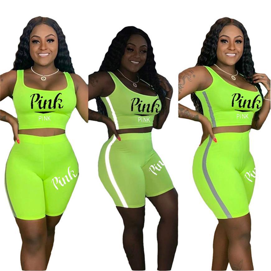 Размер PINK Plus Женщины лето бренд бегуна костюм фитнес-центр два куска сценографа топ одежды бака + шорты случайный сплошного цвета спортивных 3352