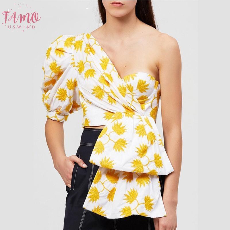 Версия для печати Слоеное Половина рукавом Блузка Женщины с плеча Нерегулярное Crop Top Женский 2019 Sexy Puff рукавом Повседневная мода Tide