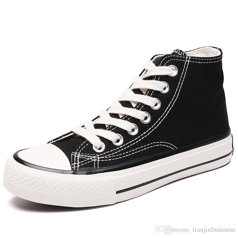 Alta lona da qualidade sapatos respirável amantes da moda Vulcanizada Calçados de alta top sapatas de lona dos homens negros retro clássico