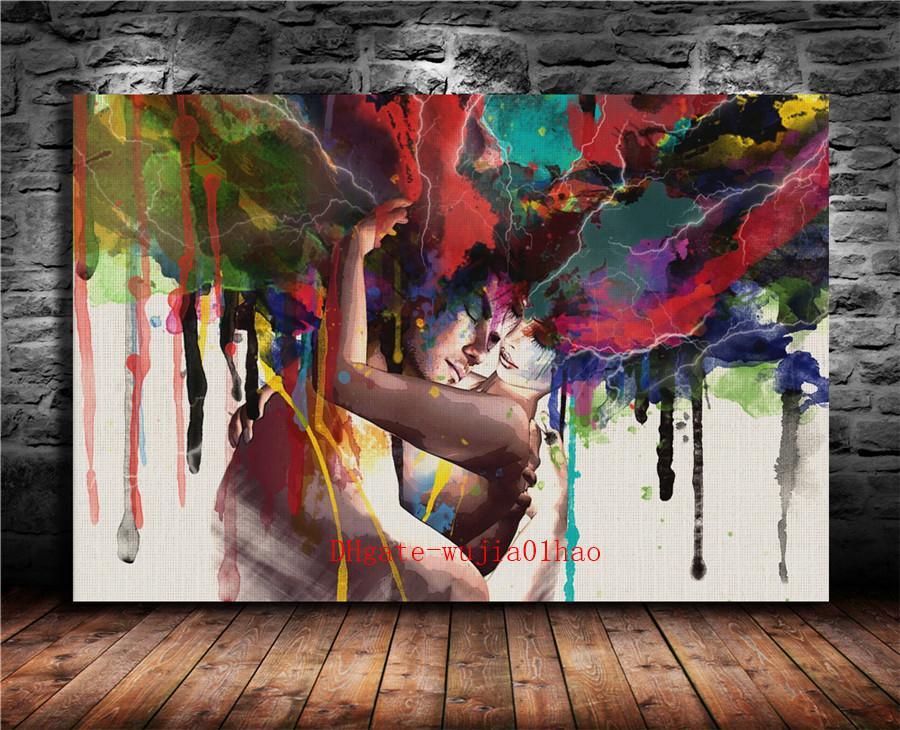 Çift sarılma, Tuval Boyama Salon Ev Dekorasyonu Modern Duvar Sanat Yağlıboya Resim