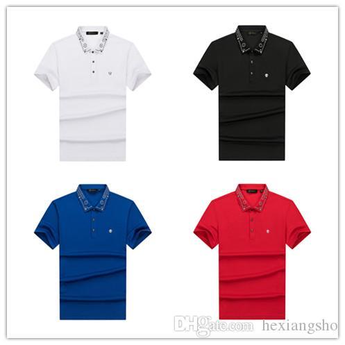 Nuevas 2020 camisas de polo de las camisas de polo ocasionales de diseño italiano de los hombres de moda las etiquetas bordadas camisas de polo de los hombres negros M-3XL # 0215