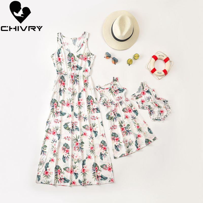 Nuevo 2020 hija de la madre de los vestidos sin mangas de la impresión floral vestido de mama y la hija de la familia Vestido de tirantes ropa a juego