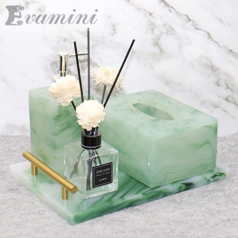 European Emerald Green Resin Bathroom Set Home Decoration Soap Dispenser Toilet Paper Holder Hand Sanitizer Bottle Tray T