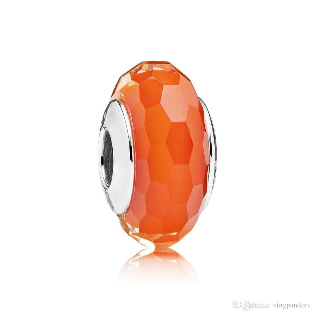 5pcs S925 Sterling Silver Threaded Screw Orange Faceted Murano Glass Beads Fit Pandora Charm Jewelry Bracelets & Necklaces