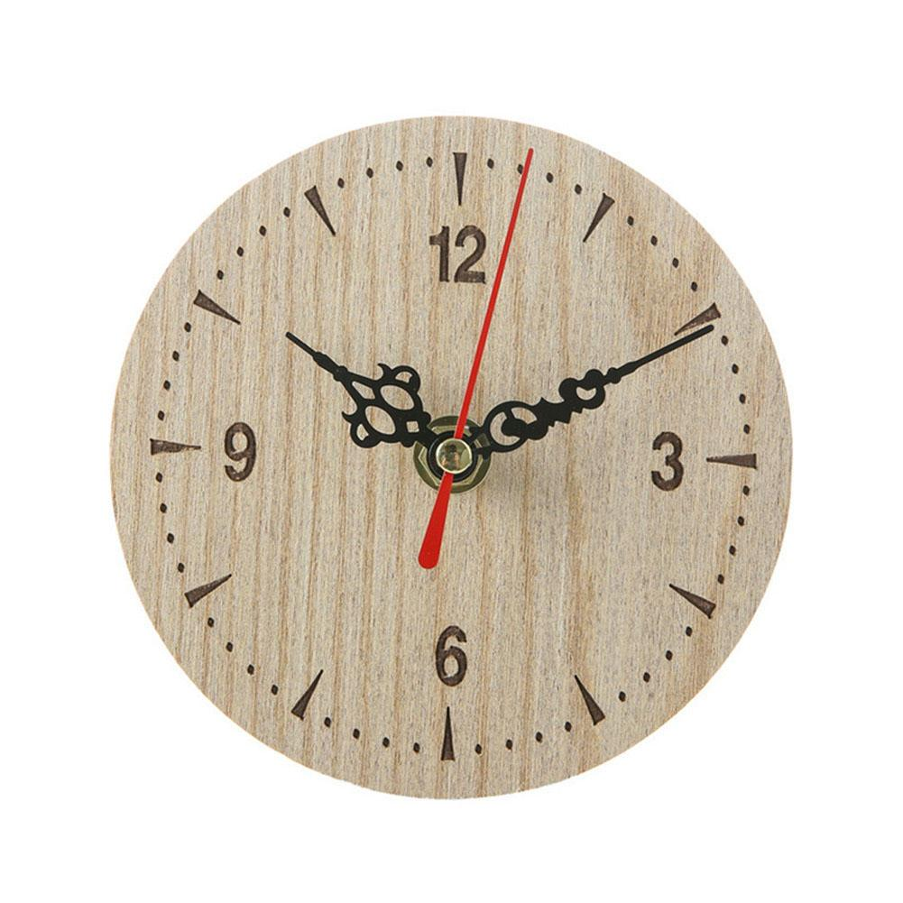 Small Wooden Wall Clock Vintage Chic Kitchen Office Living Room Decor 2019ing