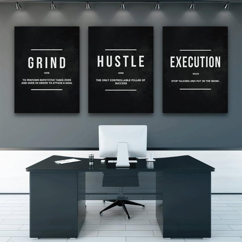 Grind Hustle Execution Wall Art Canvas Prints Office Decor Motivational Modern Art Entrepreneur Motivation Painting Pictures