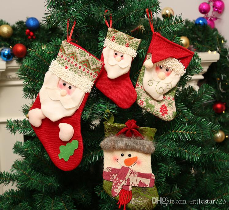 Yeni boyut S Noel Hediyesi Çanta Noel Stoklama Noel ağacı Süsleme için kindergar Şeker Çorap Yeni Yıl Prop Çorap Noel Dekorasyon