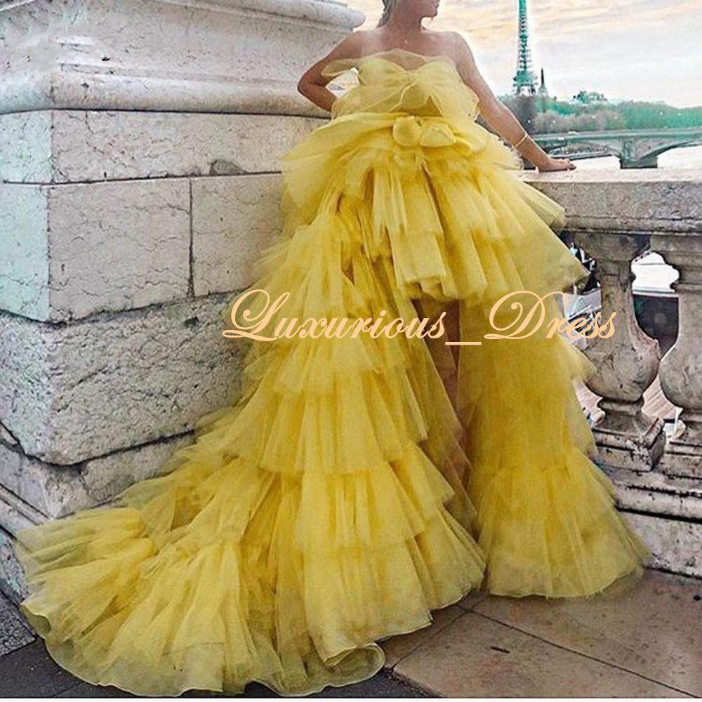 Amarillo de la manera tutú con gradas altas-bajas de los vestidos de noche hinchadas riched tul prom vestidos del desfile del hombro vestido de fiesta robe de soirée 2019