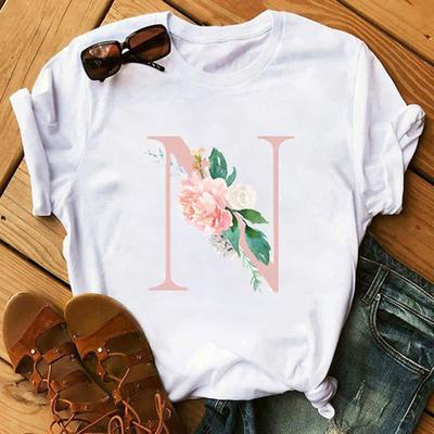 N t shirt English alphabet short sleeve tops Flower letter casual design tee Colorfast print gown Unisex clothing Cotton tshirt