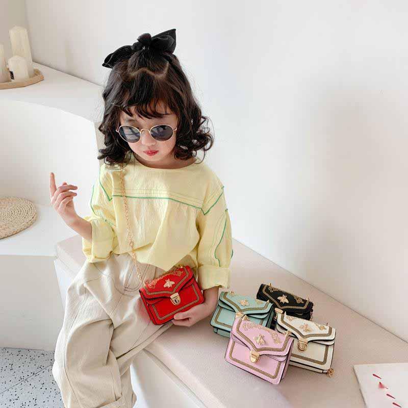 Kids Designer Handbags 2020 Newest Korean Girls Mini Princess Purses Classic Chain Bee One-Shoulder Bags Children Coin Bags Christmas Gifts