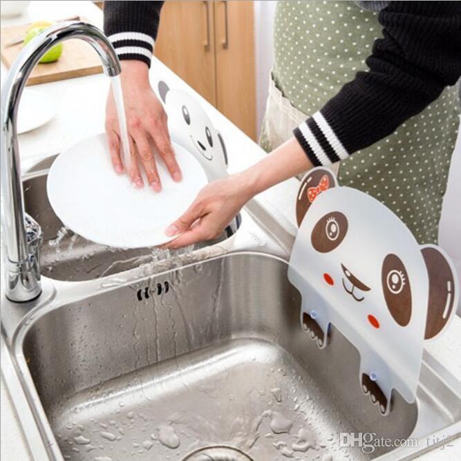 Cute panda shape sink water splash pool impermeable baffle plate gadget suction cups rack kitchen accessories plastic shelf