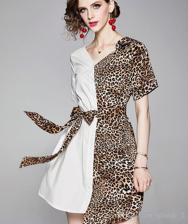 Модные белые леопардовые платья с принтом Асимметричные женские платья на шею отворотом Платья Street Style до колен