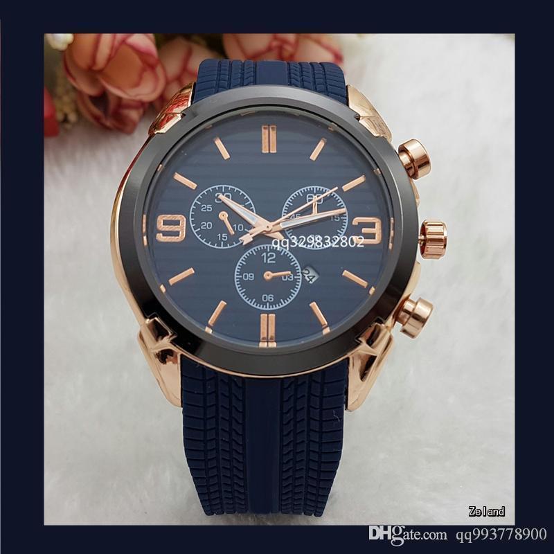 Relogios Masculinos de 45 mm de alta calidad diseñador de moda los relojes de oro de primeras marcas de lujo hombres Big Bang cuarzo día automática fecha de mástil
