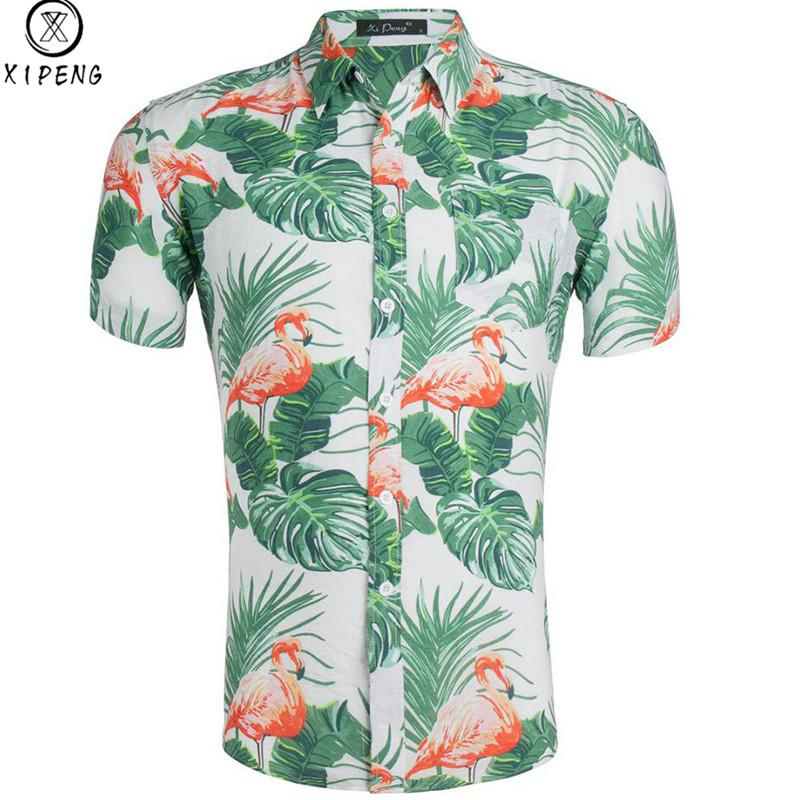 Мужские повседневные цветочные фламинго с принтом на пуговицах тонкие с коротким рукавом гавайская алоха рубашка из чистого хлопка пляжная мужская одежда 2019