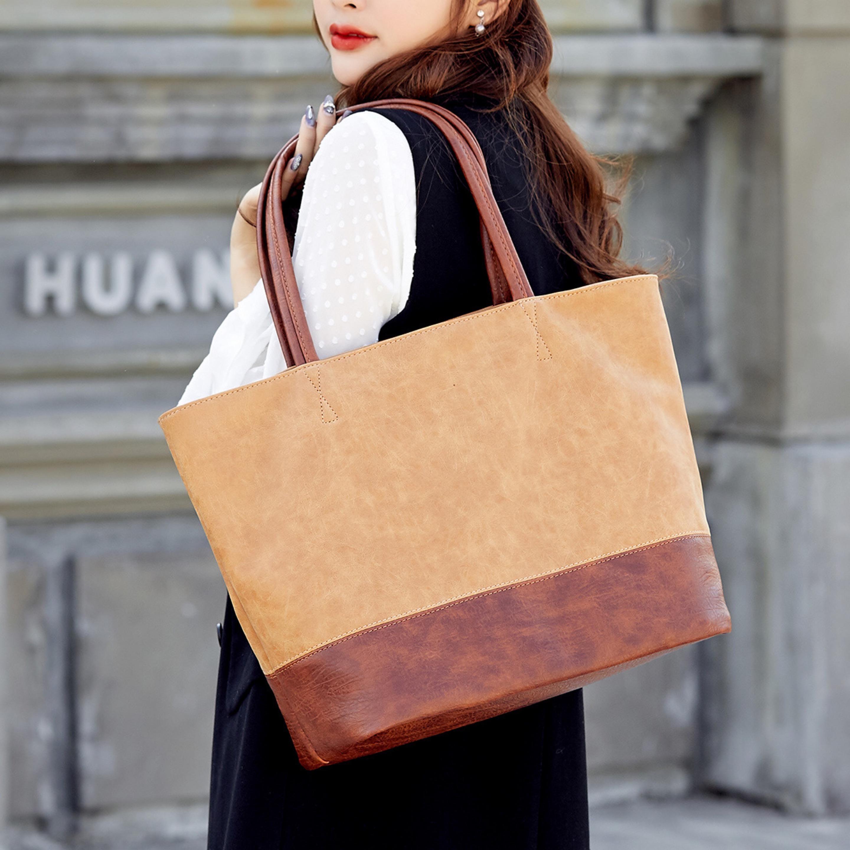Mode féminine couleur marron grand sac bandoulière en cuir patchwork de couleur unie sac à main Tote dame Sac à main